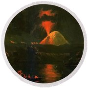 Mount St Helens Erupting At Night Round Beach Towel