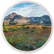 Mount St Helens Fields Of Wildflowers Round Beach Towel by Mike Reid