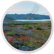 Mount St Helens Spirit Lake Fields Of Spring Wildflowers Round Beach Towel by Mike Reid