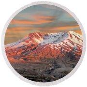 Mount St Helens Sunset Washington State Round Beach Towel