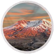 Mount St Helens Sunset Washington State Round Beach Towel