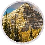 Mount Tuzo Ten Peaks Golden Fall Colors Round Beach Towel