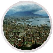 Mount Vesuvius Naples It Round Beach Towel