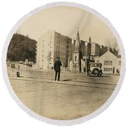 Round Beach Towel featuring the photograph Mount Washington Church  by Cole Thompson