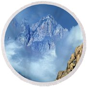 Mount Whitney Clearing Storm Eastern Sierras California Round Beach Towel