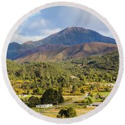 Mount Zeehan Valley Town. West Tasmania Australia Round Beach Towel