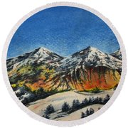 Mountain-5 Round Beach Towel