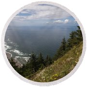 Mountain And Beach Round Beach Towel