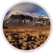 Mountain And Land, Iceland Round Beach Towel