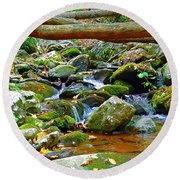 Mountain Appalachian Stream 2 Round Beach Towel
