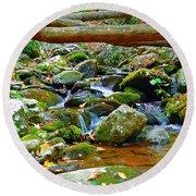 Mountain Appalachian Stream 2 Round Beach Towel