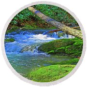 Mountain Appalachian Stream Round Beach Towel