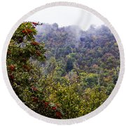Mountain Ash On A Misty Mountain Round Beach Towel