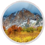 Mountain Autumn Color Round Beach Towel by Teri Virbickis