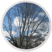 Mountain Backdrop Round Beach Towel by Jewel Hengen