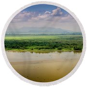 Mountain Beyond The River Round Beach Towel
