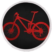 Mountain Bike - Red On Black Round Beach Towel
