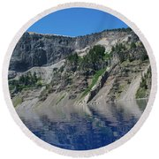 Round Beach Towel featuring the photograph Mountain Blue by Laddie Halupa