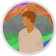 Mountain Boy Round Beach Towel by Fred Jinkins