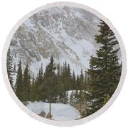 Mountain Cabin In Storm Round Beach Towel