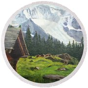 Mountain Cabin Round Beach Towel