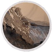 Mountain Cliff Round Beach Towel by Nancy Kane Chapman