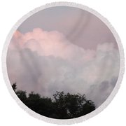 Round Beach Towel featuring the photograph Mountain Clouds 2 by Don Koester