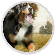 Mountain Dog Round Beach Towel