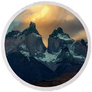 Mountain Evening Round Beach Towel by Andrew Matwijec