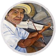 Mountain Fiddler Round Beach Towel by Marilyn McNish