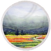 Mountain Flowers Valley Round Beach Towel by Samiran Sarkar