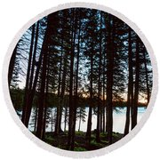 Round Beach Towel featuring the photograph Mountain Forest Lake by James BO Insogna