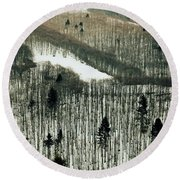Mountain Forest Round Beach Towel