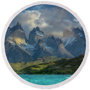 Mountain Glimmer Round Beach Towel by Andrew Matwijec