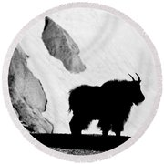 Mountain Goat Shadow Round Beach Towel