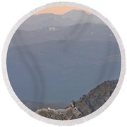 Round Beach Towel featuring the photograph Mountain Goat Sunset by Scott Mahon