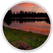 Mountain Heather Reflections Round Beach Towel