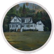Mountain Home At Dusk Round Beach Towel by Jan Dappen