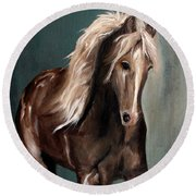 Mountain Horse Fever Round Beach Towel by Barbie Batson