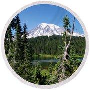 Mountain Lake And Mount Rainier Round Beach Towel