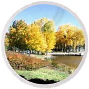 Mountain Lake Autumn Round Beach Towel