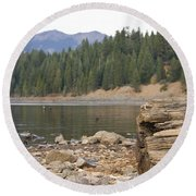 Round Beach Towel featuring the photograph Mountain Lake by Cindy Garber Iverson
