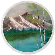 Round Beach Towel featuring the painting Mountain Lake by Denise Tomasura