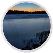 Round Beach Towel featuring the photograph Mountain Lake Glow by James BO Insogna