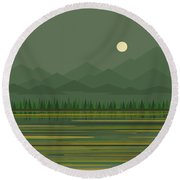 Round Beach Towel featuring the digital art Mountain Lake Moon by Val Arie