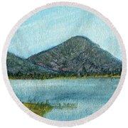 Mountain Lake Round Beach Towel by R Kyllo