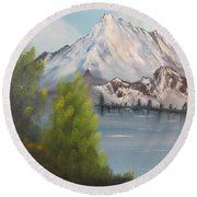 Mountain Lake Round Beach Towel