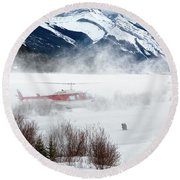 Mountain Landing Round Beach Towel