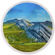 Mountain Landscape Digital Art Round Beach Towel