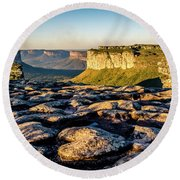 Mountain Landscape Round Beach Towel by Lana Enderle